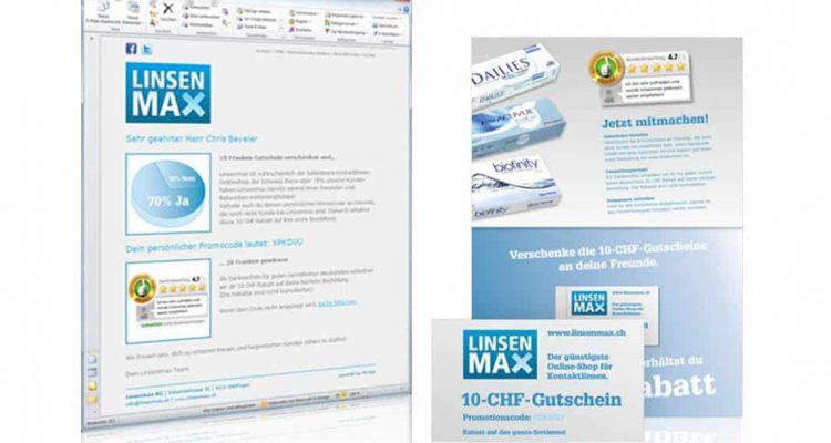 Wirksamkeit der einzelnen Massnahmen klar ersichtlich - Multichannel Kampagne für Linsenmax