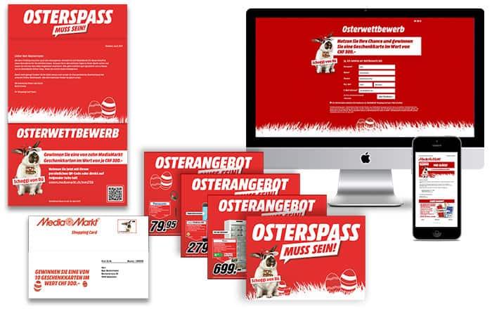 Print-Sujetvarianten Media Markt – abgestimmt auf die Targetgroups in je drei Sprachen zehn verschiedenen Promotionsangeboten sowie die persönlichen Landingpages, die mittels responsive Design auf sämtliche Endgeräte optimiert sind.