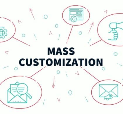 Conceptual business illustration with the words mass customization
