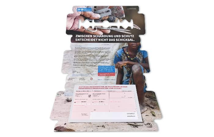 Mailing in Form einer Rasierklinge mit aufgespendetem Einzahlungsschein