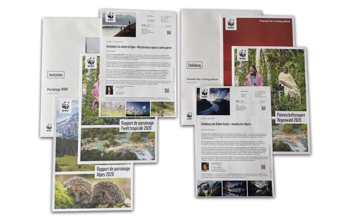 Kuvertiertes Mailing des WWF Schweiz in zwei Sprachen mit individuellem Inhalt und Beilagen