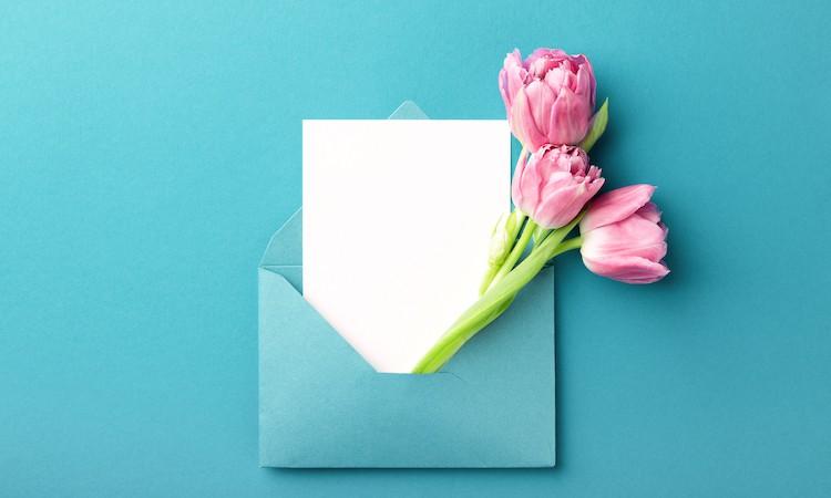 Adressiertes Mailing mit Tulpen im Couvert